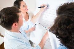 Arkitektsamtal om konstruktionsplan på flipchart Royaltyfri Fotografi