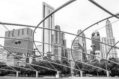 Arkitektur av Chicago, millenium parkerar, horisont, Royaltyfri Fotografi