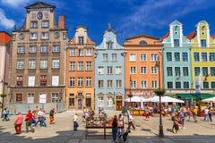 Arkitektur av den långa gränden i Gdansk Fotografering för Bildbyråer