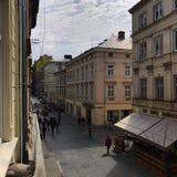 Arkitektur av den ukrainska staden av Lviv royaltyfria foton