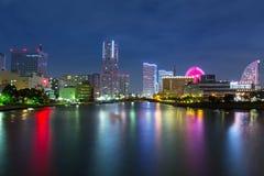 Arkitektur av den Yokohama cityatnatten Royaltyfri Foto