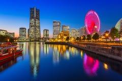 Arkitektur av den Yokohama cityatnatten Royaltyfri Fotografi