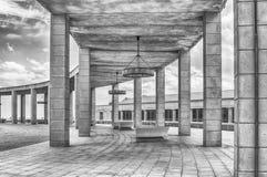Arkitektur av det olympiskt parkerar i Montjuic, Barcelona, Catalon Royaltyfri Fotografi