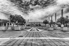Arkitektur av det olympiskt parkerar av Montjuic, Barcelona, Catalon Arkivbilder