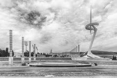 Arkitektur av det olympiskt parkerar av Montjuic, Barcelona, Catalon Royaltyfria Foton