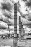 Arkitektur av det olympiskt parkerar av Montjuic, Barcelona, Catalon Royaltyfri Bild