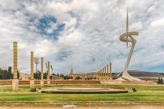 Arkitektur av det olympiskt parkerar av Montjuic, Barcelona, Catalon Arkivbild