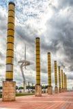 Arkitektur av det olympiskt parkerar av Montjuic, Barcelona, Catalon Royaltyfri Fotografi