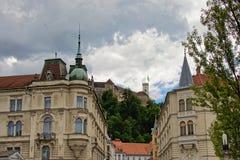 Arkitektur av Ljubljana Arkivbild