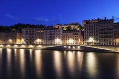 Arkitektur av Lyon längs Saone River Royaltyfri Fotografi