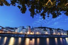 Arkitektur av Lyon längs Saone River Royaltyfria Bilder