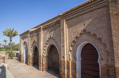 Arkitektur av moskén i Marrakech, Marocko Fotografering för Bildbyråer