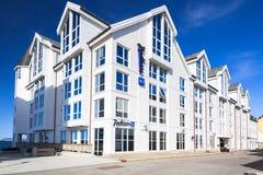 Arkitektur av Radisson det BLÅA hotellet i Alesund Royaltyfri Foto