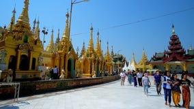 Arkitektur av Shwedagon Zedi Daw, Yangon, Myanmar arkivfilmer