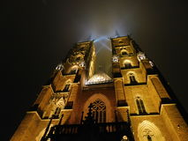 Arkitektur av Wroclaw i nattetid Arkivbilder