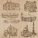 Arkitektur berömda ställen - räcka utdragna vektorer Arkivfoton