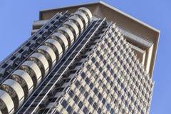 Arkitektur, byggande torn, Edificio kolon eller Torre Maritima, brutalismstil, Barcelona Arkivfoton