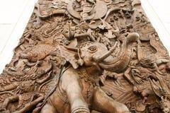 Arkitektur för elefantväggskulptur Royaltyfri Foto