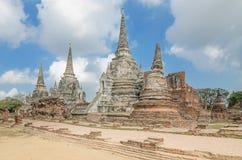Arkitektur för gammal tempel, Wat Phra sisanphet på Ayutthaya som är thailändsk arkivbilder