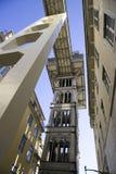 Arkitektur för Santa Justa elevatorLissabon Portugal Baixa openwork synvinkel Royaltyfri Bild