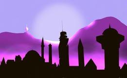 Arkitektur för Sarajevo stadssolnedgång stock illustrationer