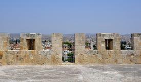Arkitektur från den Kolossi slotten Arkivfoto