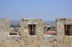 Arkitektur från den Kolossi slotten Royaltyfria Foton