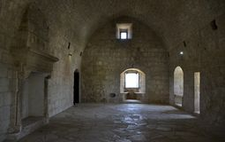 Arkitektur från den Kolossi slotten Arkivfoton