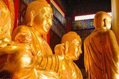 Arkitektur för guld- staty för Buddha kinesisk, Wat Mangkon Kamalawat, tempel för kinesisk stil i Thailand Arkivbilder