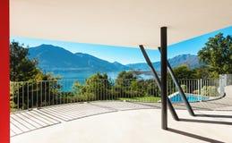 Arkitektur modern villa, veranda Arkivbild