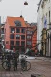 Arkitektur och byggnader i den berömda shoppinggatan av Stro Arkivfoton