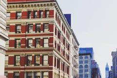 Arkitektur och härliga byggnader längs Broadway i Manhattan Arkivbild