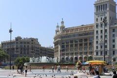 Arkitektur på den Catalonia fyrkanten i Barcelona Royaltyfria Bilder