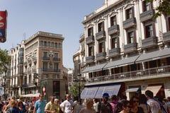 Arkitektur på La Rambla i Barcelona Royaltyfri Fotografi