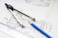 arkitektur planerar tappning Arkivbild