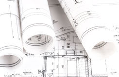 Arkitektur rullar arkitektritningar för arkitektoniska plan Fotografering för Bildbyråer