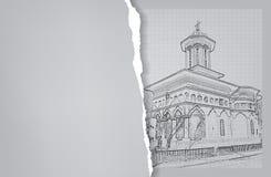 arkitektur skissa Teckning av kyrkan Royaltyfri Fotografi