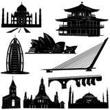 arkitektur som 2 bygger den stads- vektorn vektor illustrationer