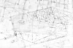 arkitekturbyggnad som tecknar åtskilliga plan Arkivbild