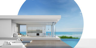Arkitekturdesign av det lyxiga strandhuset med havssiktspölen Arkivfoto