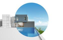 Arkitekturdesign av det moderna huset för havssikt Royaltyfri Fotografi