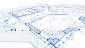 Arkitekturdesign: ritningplan - illustration av en planändring royaltyfria bilder