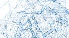 Arkitekturdesign: ritningplan - illustration av en planändring arkivfoton