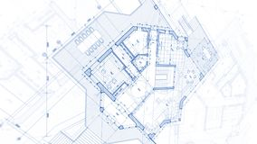 Arkitekturdesign: ritningplan - illustration av ett plan arkivbild