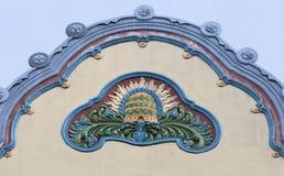 Arkitekturdetalj i Subotica, Serbien arkivbilder