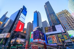 Arkitekturen av New York City i den USA tidvis fyrkanten arkivbilder