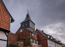 Arkitekturen av staden Hildesheim, Tyskland royaltyfri bild