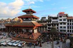 Arkitekturen i Katmandu den durbar fyrkanten i Nepal Arkivbilder