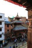 Arkitekturen i Katmandu den durbar fyrkanten i Nepal Arkivbild