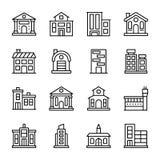 Arkitekturer fodrar symbolsuppsättningen stock illustrationer